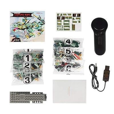 Pgige MoFun-13021 2.4G 4H Unidad de construcción de Carga USB Kung Fu Machine Dragon 515pcs Modelo de Robot RC eléctrico DIY para niños - Verde: Juguetes y juegos