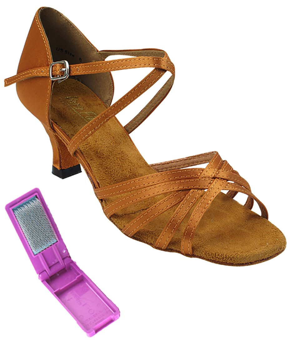 Very Fine Ballroom Latin Tango Salsa Dance Shoes for Women 1613 2.5-inch Heel + Foldable Brush Bundle - Dark Tan Satin - 9.5
