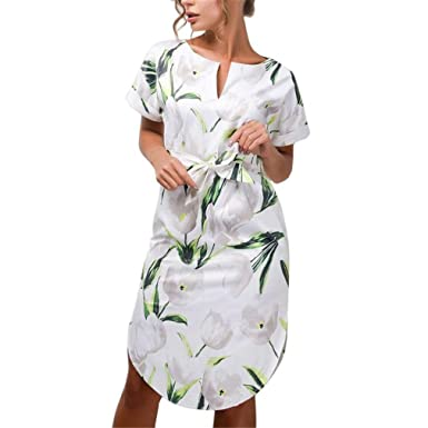 0ab99e15d20 ISHILA Women Summer Casual V-Neck Short Sleeve Block Print Dresses Plus  Size Knee-Length Dress at Amazon Women s Clothing store