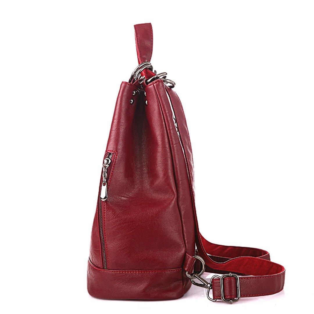 Multifunction Women Backpack PU Leather Black Bagpack Large Capacity Travel Bag Female Rucksack Shoulder Bag Mochila