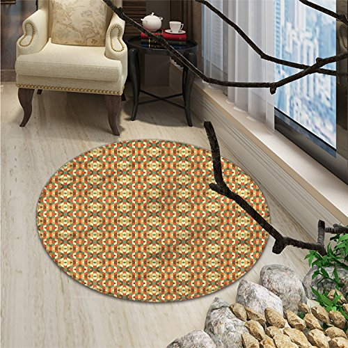 Geometric Round Area Rug Ethnic Triangles in Earthen Tones Aztec Folk Culture Boho PrintOriental Floor and Carpets Burnt Sienna Teal Sand - Sienna Brown Round Rug