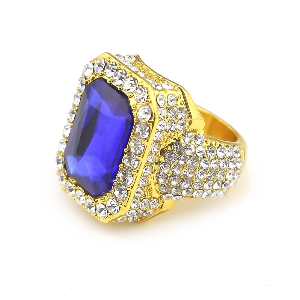HongBoom Hot Hip Hop Rings 18K Gold Silver Plated CZ CRYSTAL Fully Iced-Out CUBAN Blue Ruby Ring (Gold/US Size 10)