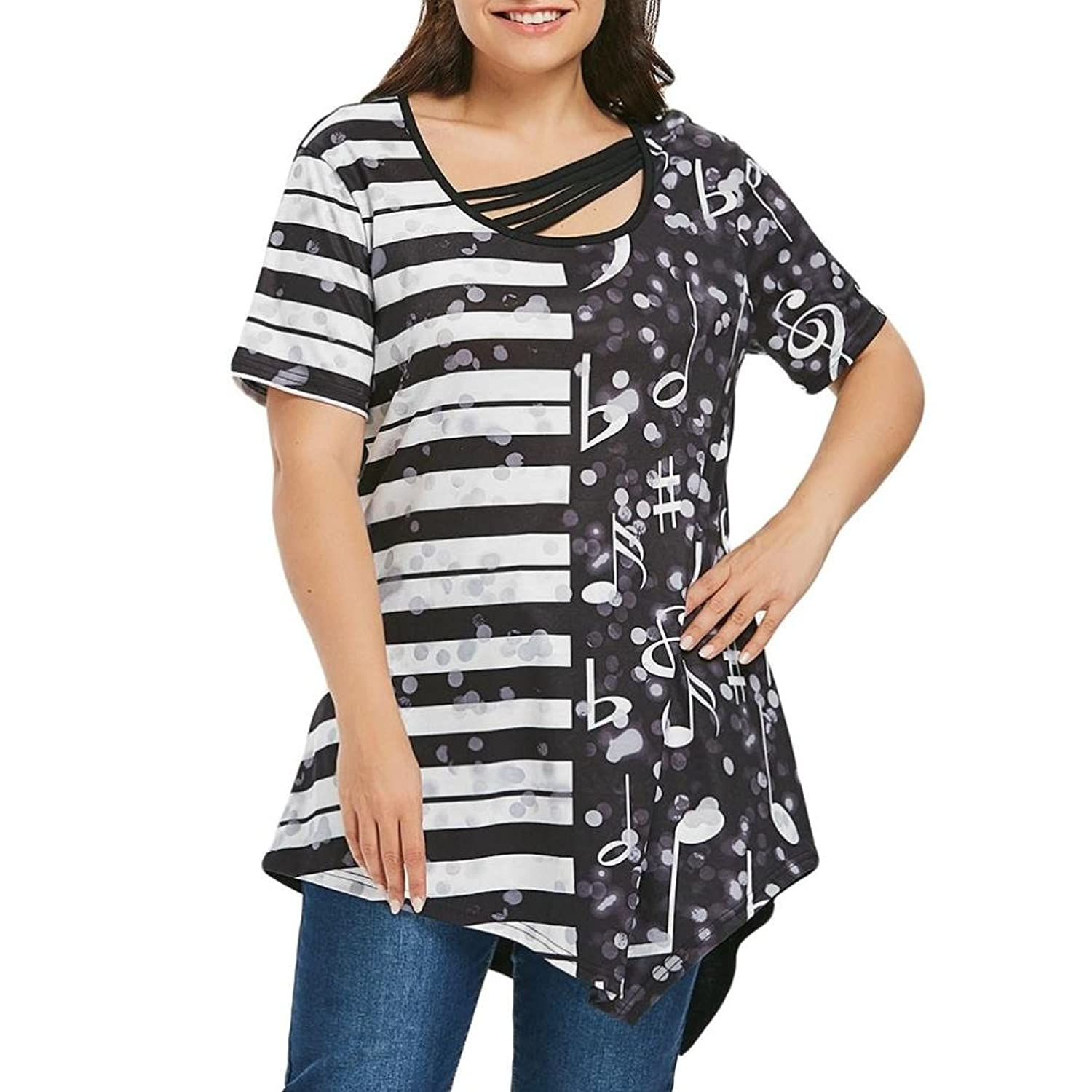 52548349a5b Top3  Misaky Women s Plus Size Tops Short Sleeve Music Note Scoop Neck T- Shirts. Wholesale Price 3.85