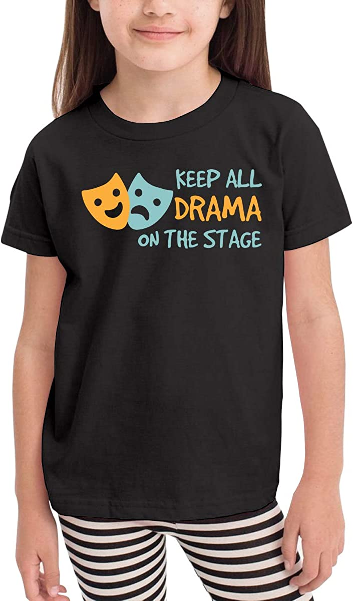 Baby Boys Girls Keep All Drama On The Stage Cute T-Shirt Short Sleeve Tee for 2-6 Years Old