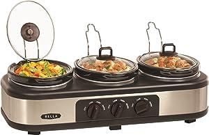 Bella 3 X 1.5 Quart Triple Slow Cooker with Lid Rests