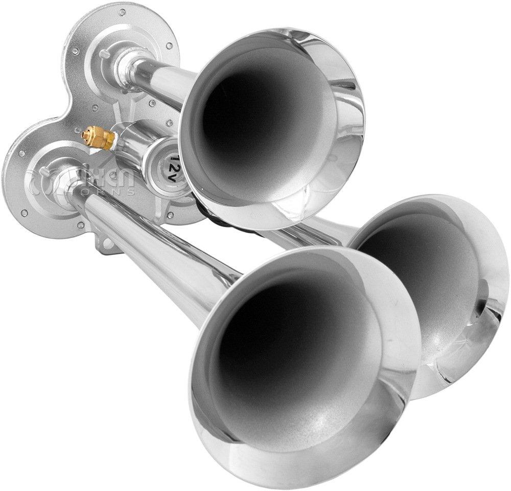 Vixen Horns Loud 135dB 3//Triple Trumpet Train Air Horn with 12V Electric Solenoid Black VXH3114LB