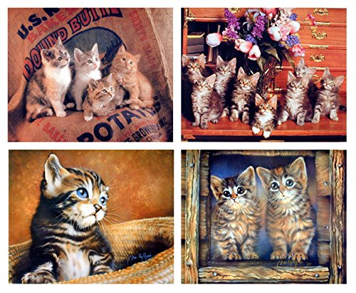 - Impact Posters Gallery Wall Decor Picture Funny Cute Cat Animal Kid Room Four 8x10 Set Art Print Poster