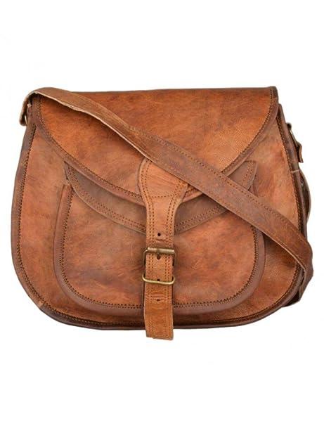 Women/'s New Vintage Genuine Brown Leather Messenger Shoulder Cross Body Bag