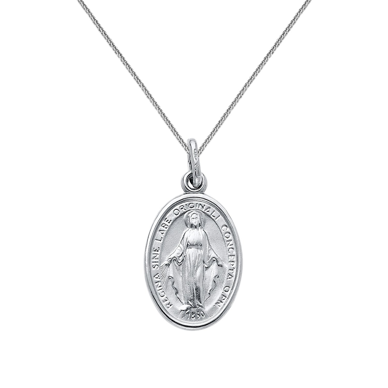 14k White Gold Miraculous Medal Virgin Mary Pendant with 0.80-mm Square Wheat Chain