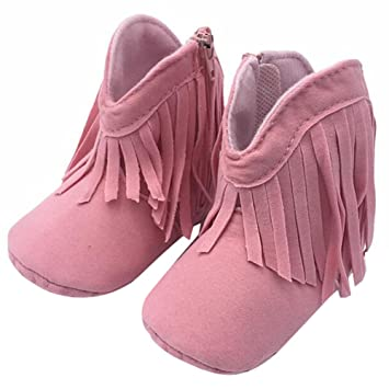 5f6a283f1bb5 Amazon.com   Highdas Newborn Baby Girl Boy Kids Prewalker Solid Fringe  Shoes Infant Toddler Soft Soled Anti-slip Boots Booties   Baby