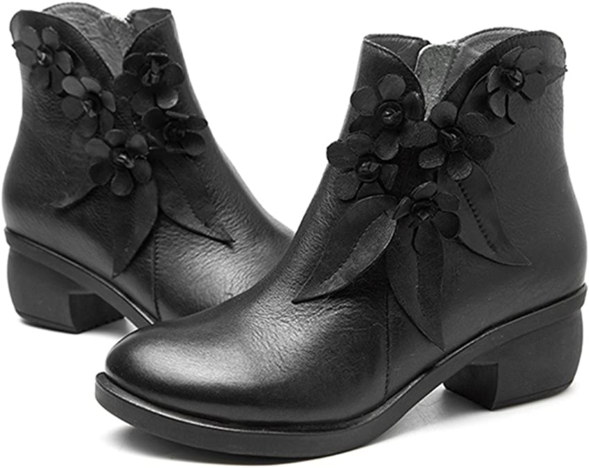 LEFT&RIGHT Damenmode Ankle Boots, Fashion Splicing Leder
