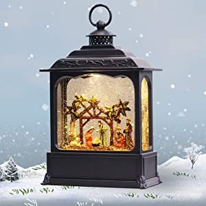 "GenSwin Nativity Musical Lighted Water Lantern Christmas Snow Globe with 6 Hour Timer, Battery Operated & USB Powered Singing Swirling Glitter Snow Globe Lantern Christmas Holiday Home Decor Gift(11"")"