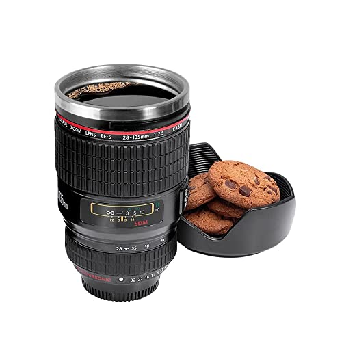 Inovera Camera Lens Coffee Mug Flask With Cookie Holder, Black
