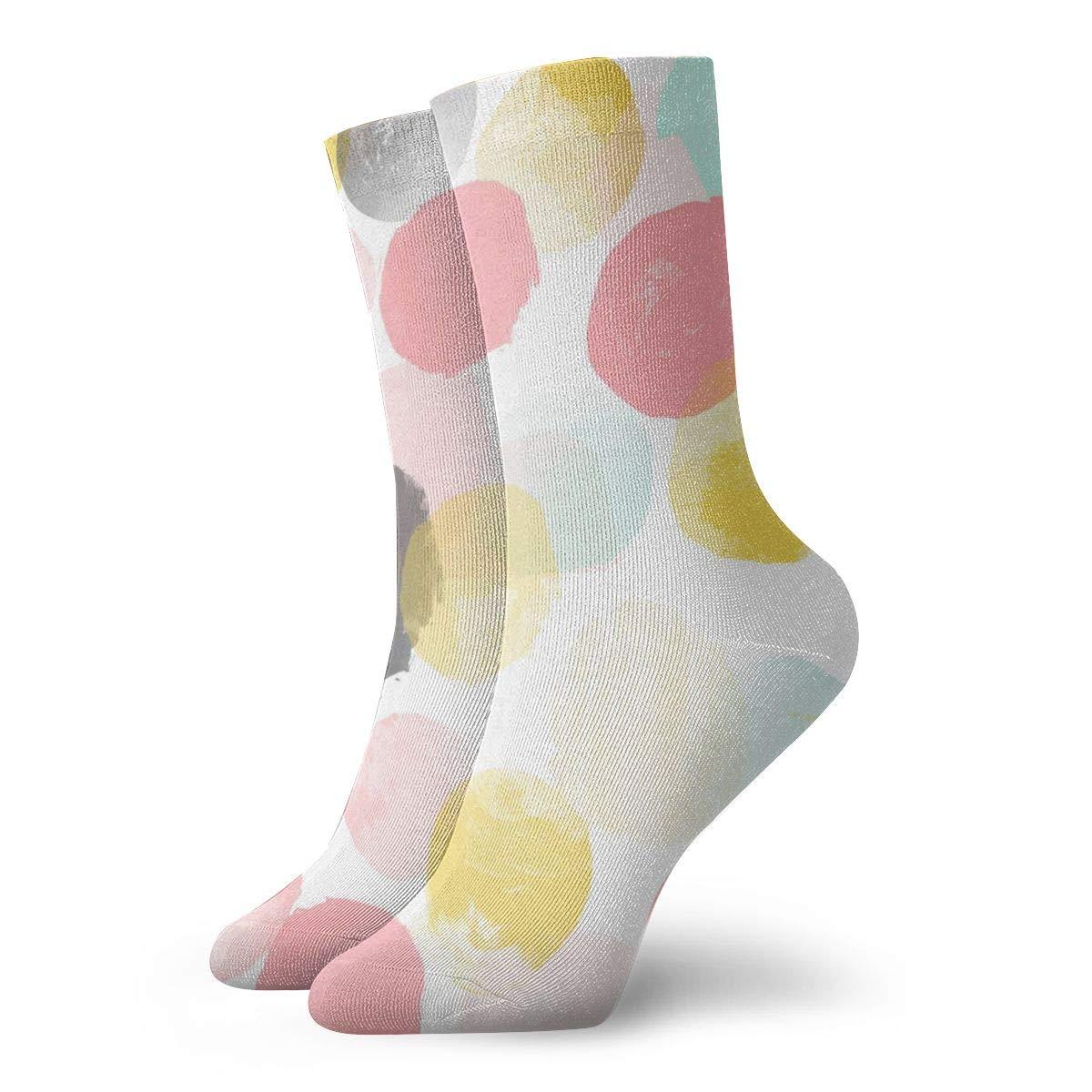 WEEDKEYCAT Colorful Circle Block Adult Short Socks Cotton Sports Socks for Mens Womens Yoga Hiking Cycling Running Soccer Sports
