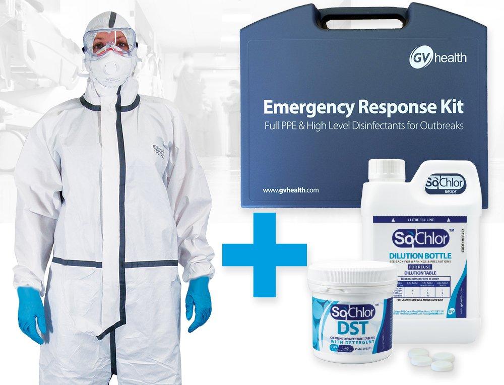 Kit di emergenza di contenimento e disinfezione 5 e 6 GV Health con tuta da lavoro di tipo 4
