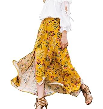 ad46f1d5f1 BIYOUTH Women's High-waisted Boho Floral Print Tie up Split Wrap Maxi Skirt £¨