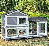 PURLOVE Pet Rabbit Hutch Wooden Bunny Cage Small