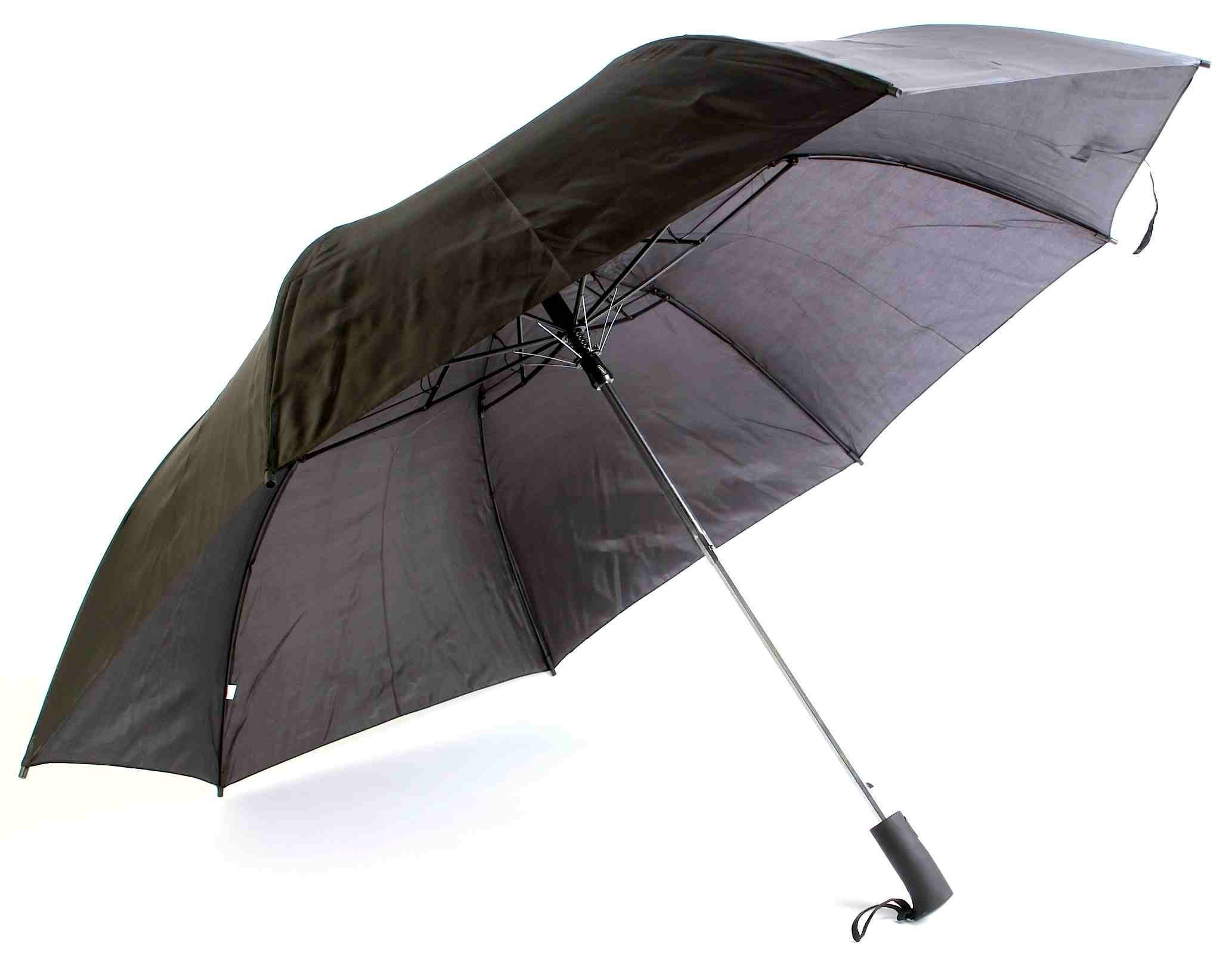 The Weather Station Automatic Umbrella with 56-inch Canopy Coverage and Included Carrying Case, Black, 1-pack