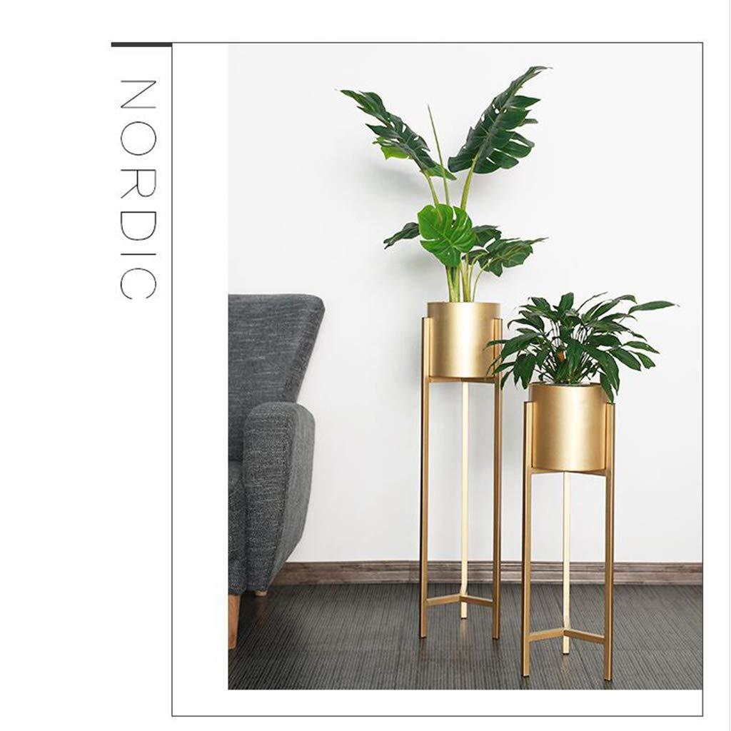 LXFMD Nordic wrought iron flower shelf//living room indoor floor-standing green dill metal flower pot rack color : Gold, Size : 60cm