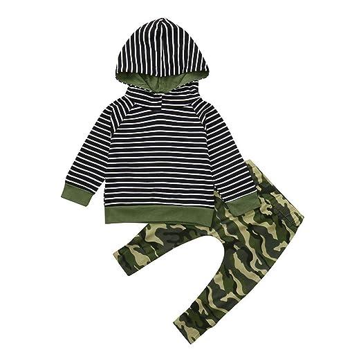 YanHoo Conjuntos de Ropa para bebés niño Tops con Capucha Trajes Conjunto Sudadera con Capucha a Rayas de Manga Larga para bebé Top + Pantalones de ...