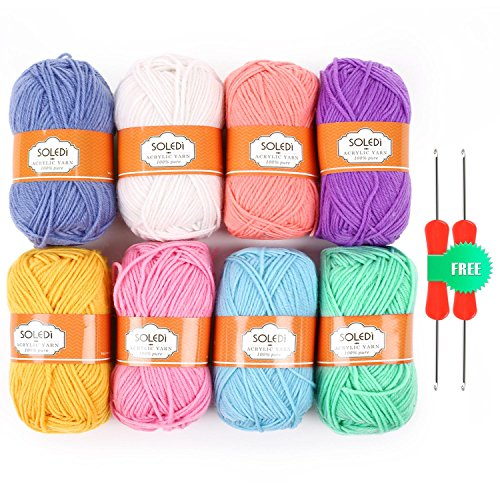 SOLEDI Bonbons Yarn 50g X 8 Skeins Assorted Colors 100% Acrylic for Crochet & Knitting Multi Pack Variety Colored (50g Yarn)