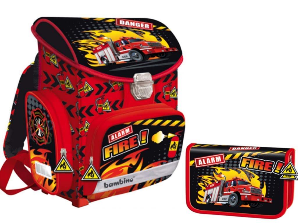 2-teiliges Schulranzen Set Schulrucksack Rucksack 0,9 kg, Federmappe Federtasche Feuerwehr Motiv