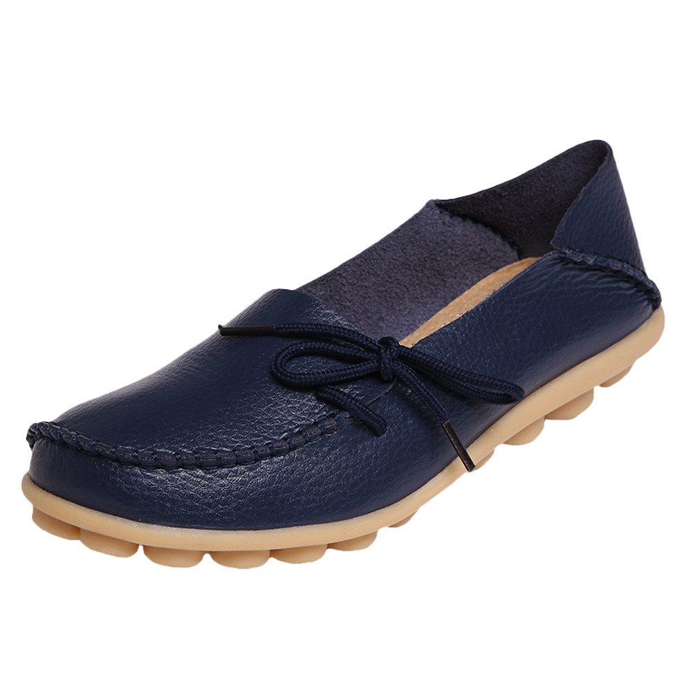 Mordenmiss Women's Casual Solid Color Moccasins Leather Loafer Shoes 42 Style 1-Dark Blue