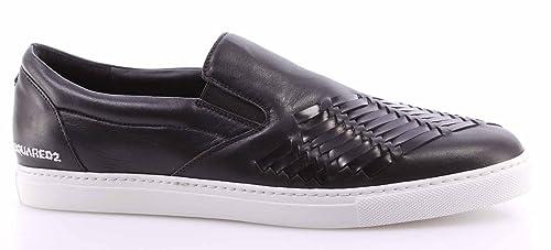Zapatos Sneakers Hombre Dsquared Slip On Panama Vitello Sport Nero Cuero Negro: Amazon.es: Zapatos y complementos