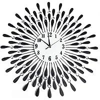 Large Modern 3D Crystal Wall Clock Luxury Art Metal Round Home Decor