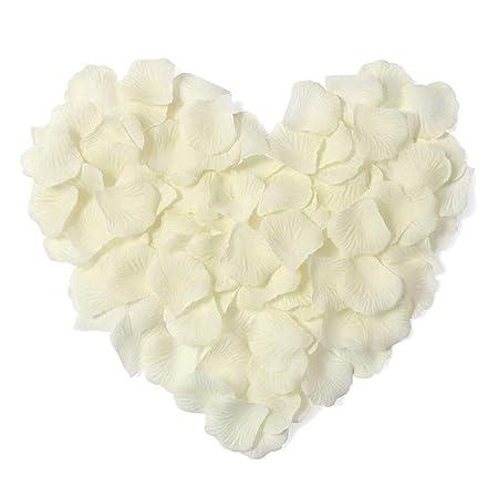 Febbya Rosenblätter,2000 Stück Blütenblätter Künstliche Blumen für Hochzeit Konfetti Valentinstag Kunst 5X5cm Weiß