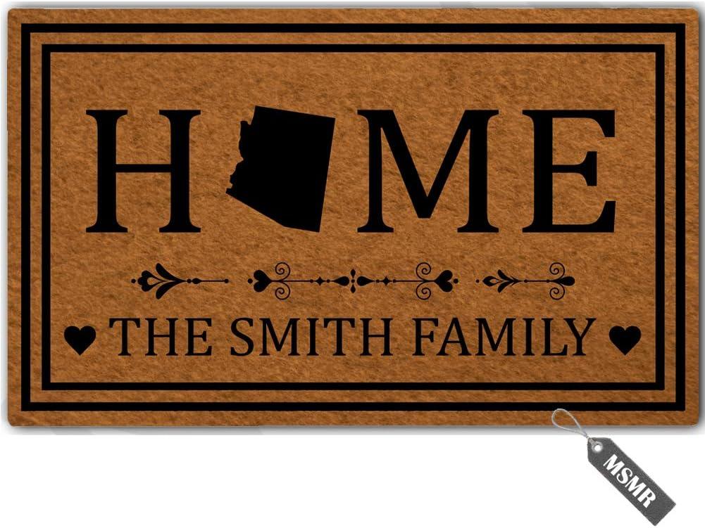 """MsMr Personalized [Your Name] Door Mat Indoor Outdoor Custom Doormat Decorative Home Office Welcome Mat Arizona Door Mat 30"""" x 18"""""""