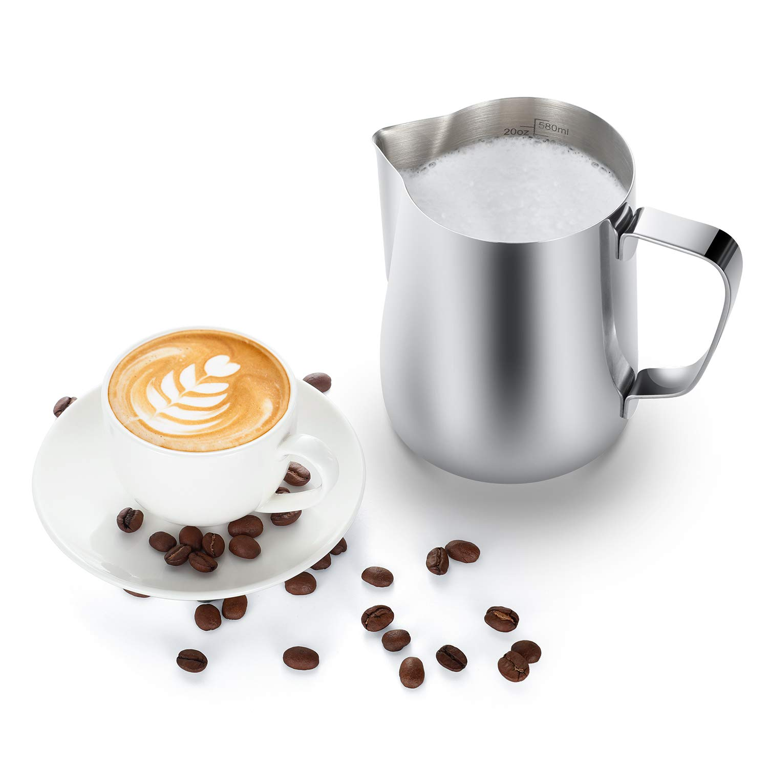 Milk Frothing Pitcher 600ml/350ml/900ml (20oz/12oz/32oz) Steaming Pitchers Stainless Steel Milk/Coffee/Cappuccino/Latte Art Barista Steam Pitchers Milk Jug Cup with Decorating Art Pen, Latte Arts by Adorever (Image #4)