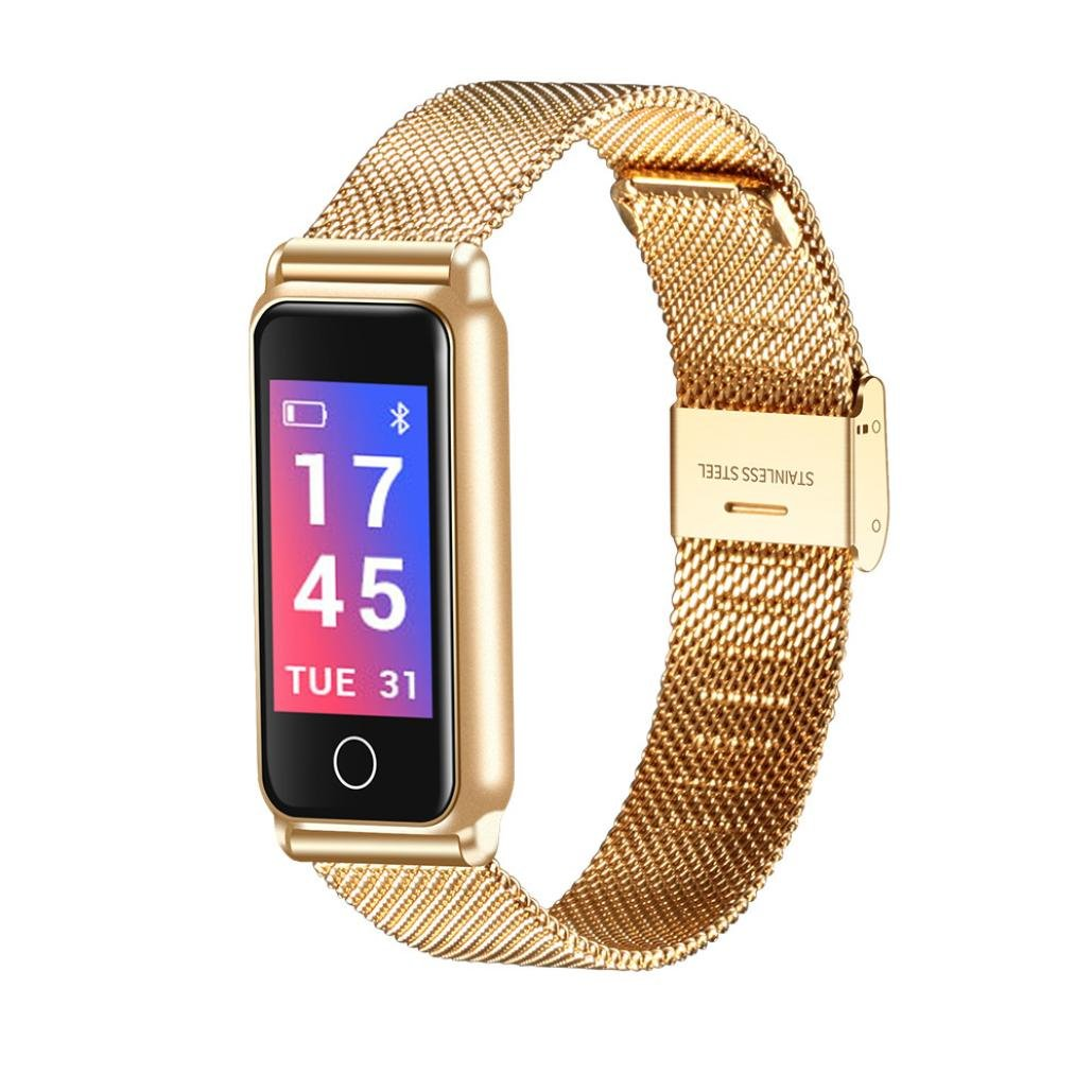 Remiel Store Stainless Steel Wrist Smart Watch Fitness Sports Blood Pressure Heart Rate Tracker (Free, Gold)