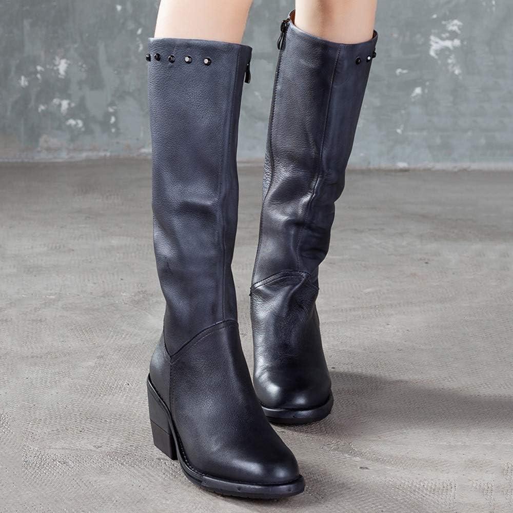 Dames High Tube Bottes Automne Hiver en Cuir Chaud Bout Rond Bottes Longues Vintage Casual Mode en Plein Air Chaussures De Travail Black