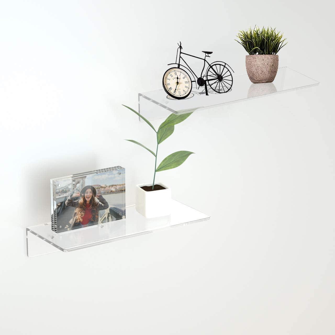 Weathered Grey Wall Mounted Storage Shelves for Bedroom Acrylic Wall Shelves Set of 2 HIIMIEI Floating Shelves Living Room Kitchen Bathroom