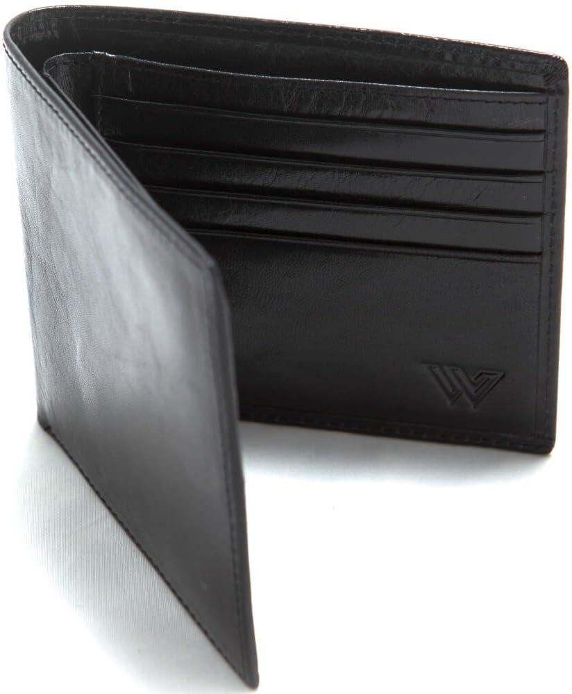 RFID Cartera Hombre Piel de Walletech | Cartera Billetera Fina de Piel Auténtica Italiana con Bloqueo RFID para Proteger Tus Tarjetas de Crédito y Débito |Diseño Minimalista y Elegante | Negra