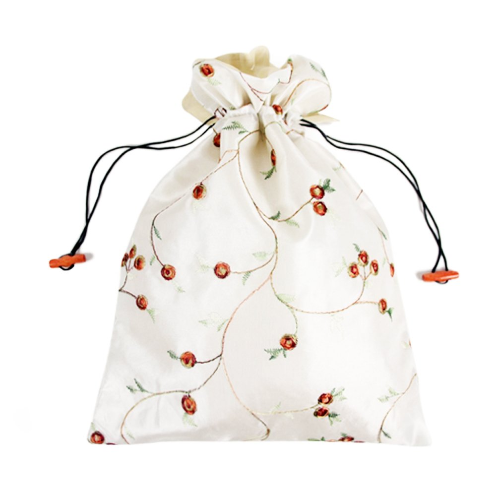 Mmei Set of 3 14'' x 11''(L x W) Flower Design Embroidered Silk Jacquard Travel Bag Underwear Cloth Shoe Bags Pouch Purse (Off-white x 1, red x 1, black x 1) by Mmei (Image #4)