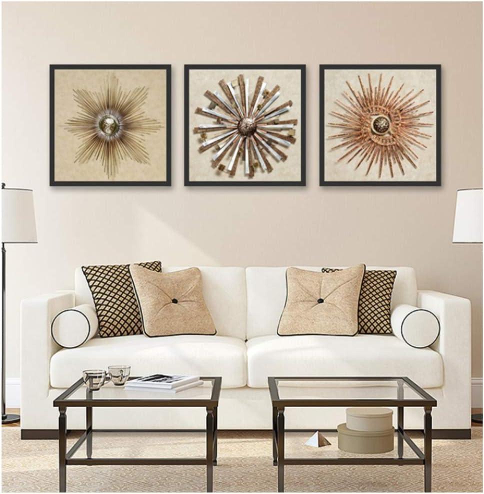 HSFFBHFBH Arte de la Pared Lienzo Pintura Creativa Hierro Forjado Imagen Abstracta de la Flor para la Sala de Estar Pinturas Decorativas 30x30cm (11.8