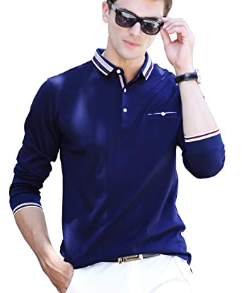 489e1532d XTAPAN Men s Casual Long Sleeve Slim Fit Polo Cotton T Shirt 50 8889 Dark  Blue