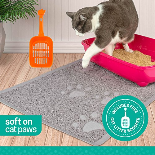 Ruff n Ruffus Cat Litter Box Mat with Free Kitty Litter Scooper | Heavy Duty Non-Slip Anti-Tracking Pad | Waterproof, Non-Toxic, Easy Clean | Soft & Stylish Litter Trapping Mat for All Floors