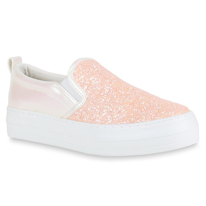 Stiefelparadies Damen Sneaker Slip Ons mit Plateau Glitzer Flandell  36 EU|Rosa Weiss Plateau