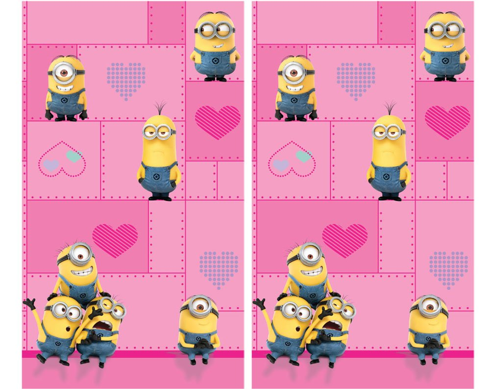 KIDS GIRLS BOYS WINDOW CURTAINS DRAPES-MULTIPLE DISNEY CHARACTERS/TV CHARACTERS (despicable me ''minions'' pink)
