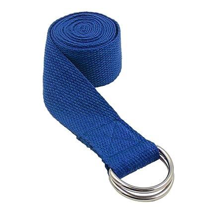 Topdo Cinturón de Yoga de algodón Duradero con cinturón de Hebilla con Anillo en D Ajustable para Estiramiento de la Aptitud para Mantener la ...