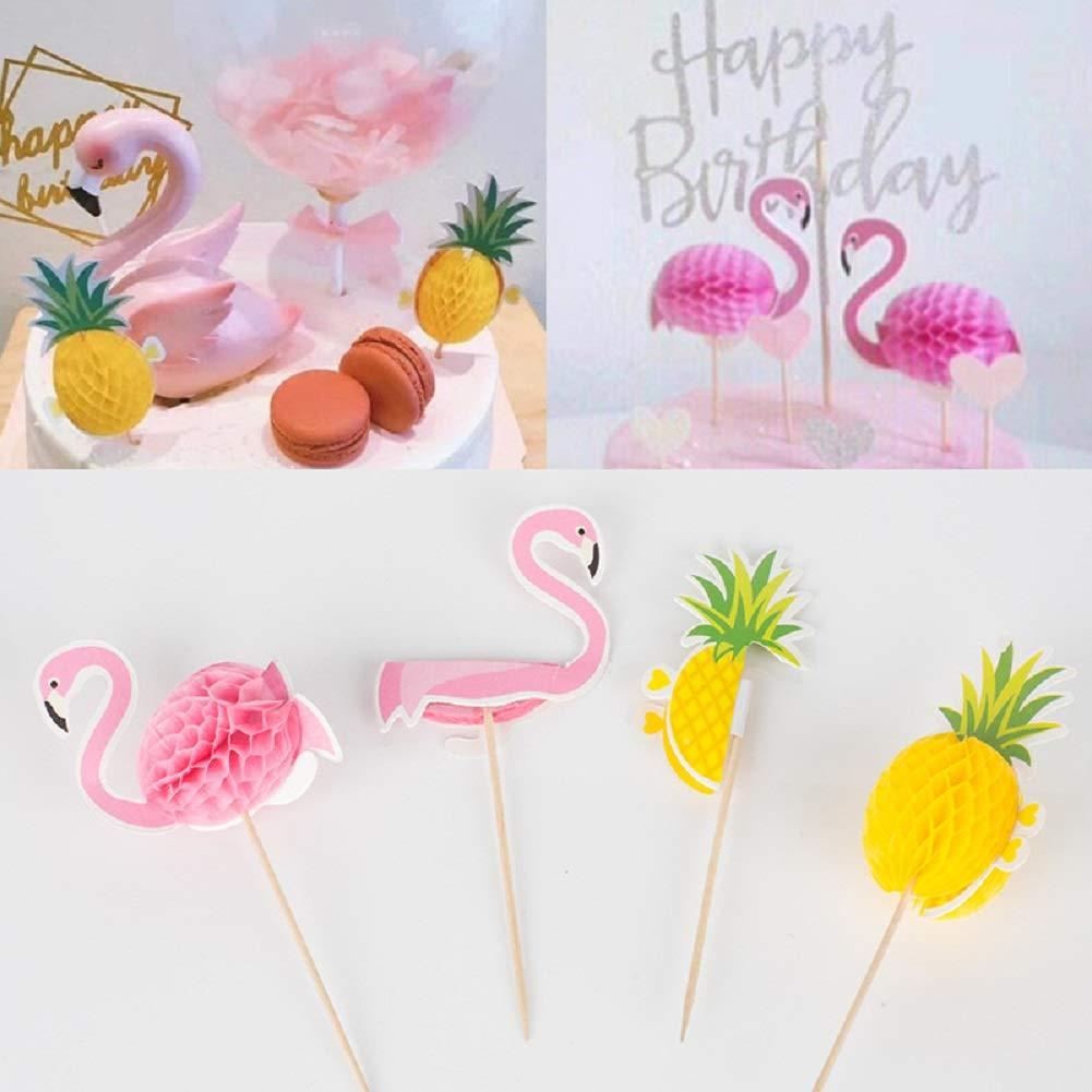 Bastoncini da cocktail fenicottero ananas decorazioni 3D a nido dape confezione 40 stuzzicadenti in legno per antipasti compleanno matrimonio spiaggia hawaiano luau tiki tropicali decorazioni feste