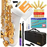 360-WH - White/Gold Keys Eb E Flat Alto Saxophone Sax Lazarro+11 Reeds,Music Pocketbook,Case,Care Kit - 24 Colors with Silver or Gold Keys