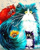 """iCoostor Wooden Framed Paint by Numbers DIY Acrylic Painting Kit for Kids & Adults Beginner – 16"""" x 20"""" Four Color Cat Pattern with 3 Brushes & Bright Colors…"""