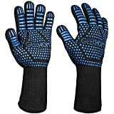 """GEEKHOM BBQ Cooking Grill Gloves, 14"""" Extreme Heat Resistant Kitchen Gloves, EN407 Protect up to 932℉, Flexible Safe Oven Mitts for Grilling, Fireplace - Blue"""