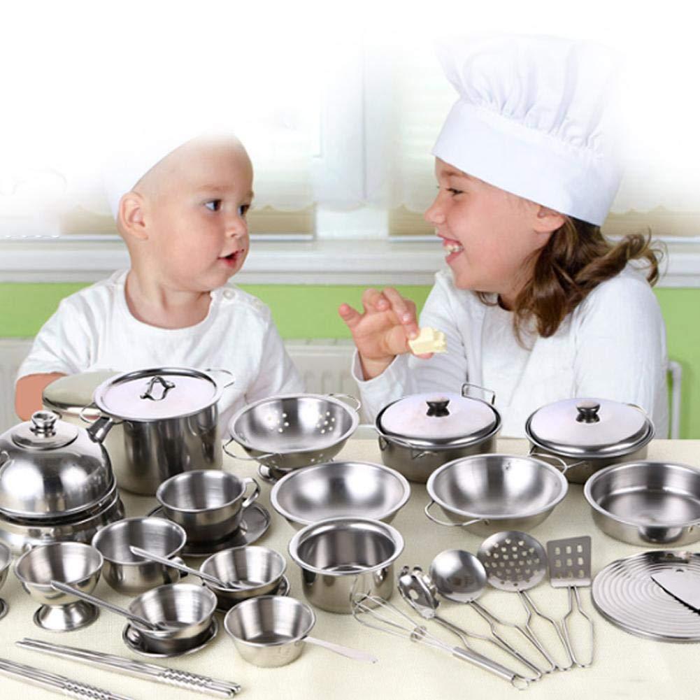Juego de batería de cocina, Juguetes para niños Juguetes para niños Ollas y sartenes de acero inoxidable Baby Play House Juguete para niños y niñas Juego de ...