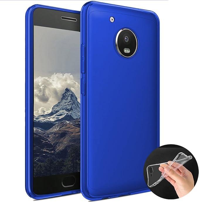 Donkeyphone - Funda Carcasa DE Silicona Azul para Motorola Moto G5 Plus Gel TPU Lisa Transparente: Amazon.es: Electrónica