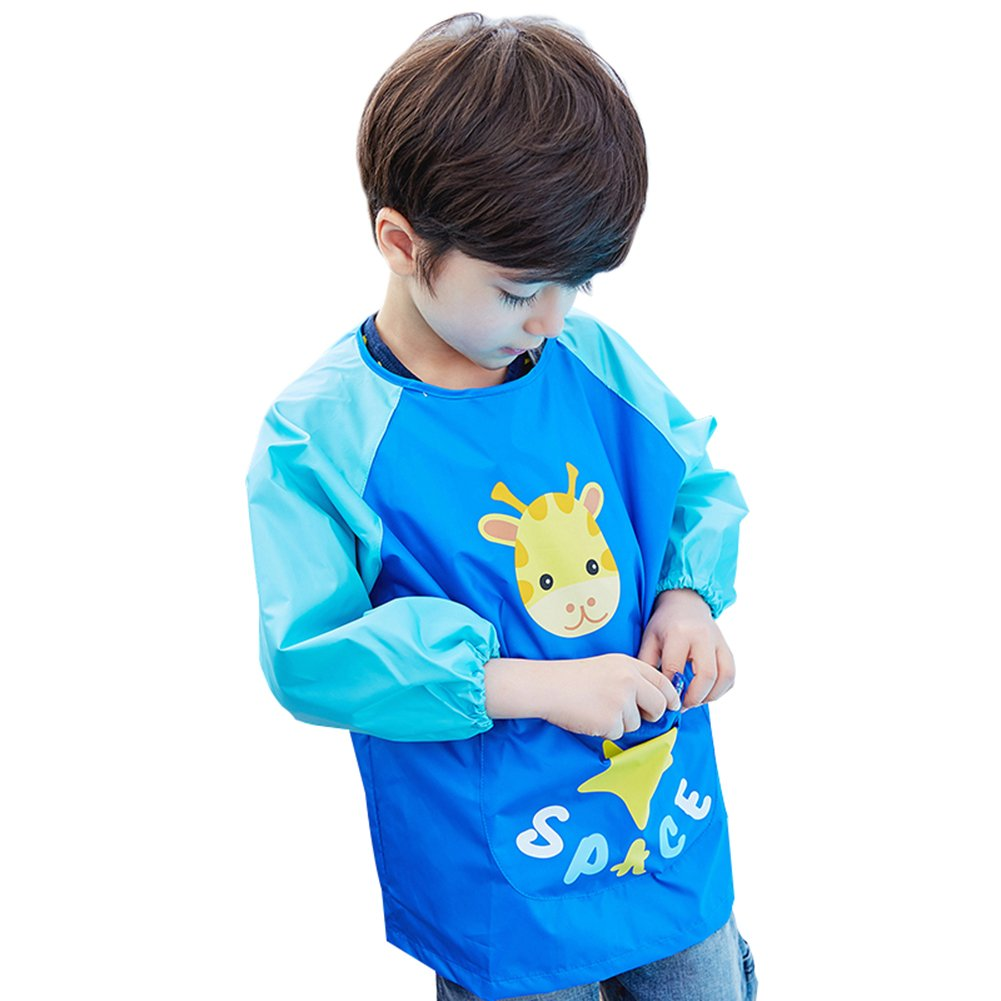 OLizee Long Sleeve Waterproof Art Smock with Front Pocket Cartoon Giraffe Kids Painting Apron Bib for Eating, Dark Blue S